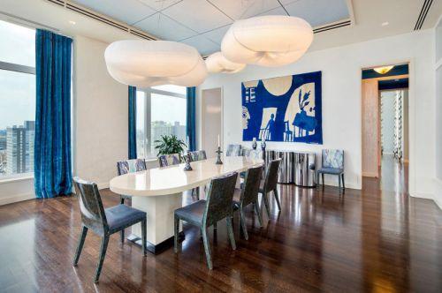 精致时尚现代风格餐厅个性灯饰装修图