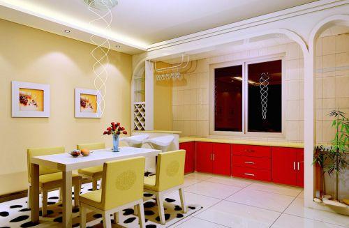 现代简约混搭三居室餐厅装修效果图