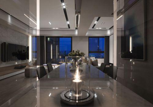 前卫现代风格餐厅灯具装修实景图