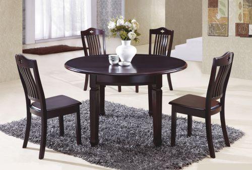 二居室现代简约咖啡色大气圆桌餐厅餐桌效果图