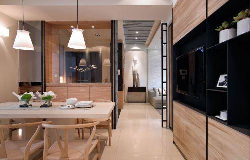 原木色现代简约风格餐厅装修实景图