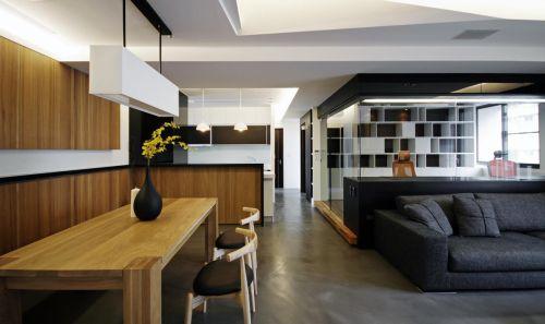 自然通透现代风格木质餐厅餐桌装修设计