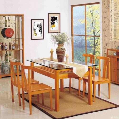 三居室现代简约原木色板式餐厅餐桌效果图