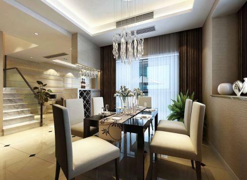 复式现代简约精致白色餐厅水晶灯灯具效果图