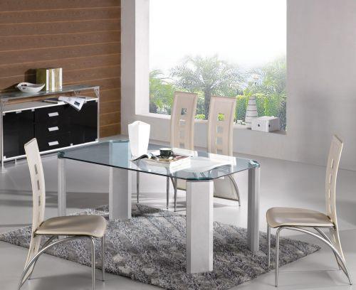 三居室现代简约时尚白色精致餐厅餐桌效果图