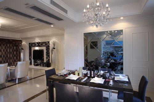 三居室现代简约灰色质感餐厅吊灯灯具效果图