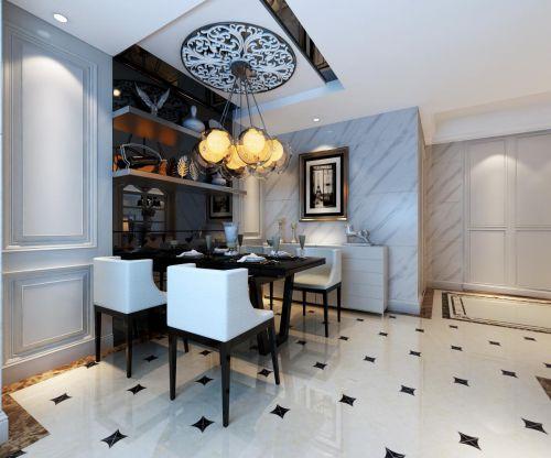 简约时尚黑白气质餐厅餐桌效果图
