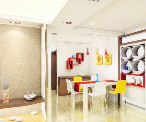 彩色现代简约餐厅装修效果图