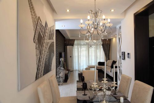 二居室现代简约质感白色餐厅灯具效果图