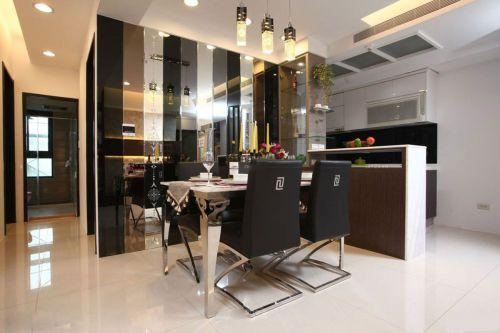 三居室现代简约风餐厅明快吊灯效果图