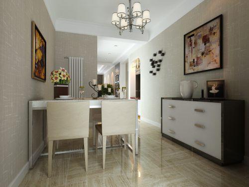 三居室现代简约白色餐厅吊灯灯具效果图