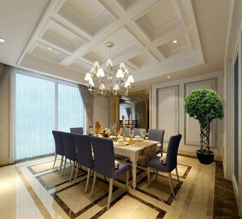 四居室现代简约风格明雅餐厅吊灯效果图