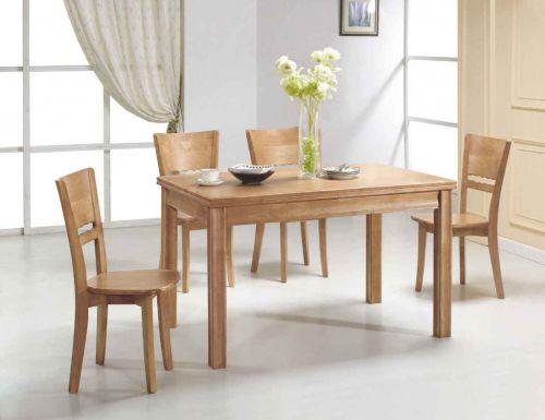 原木色简约环保实木餐厅餐桌