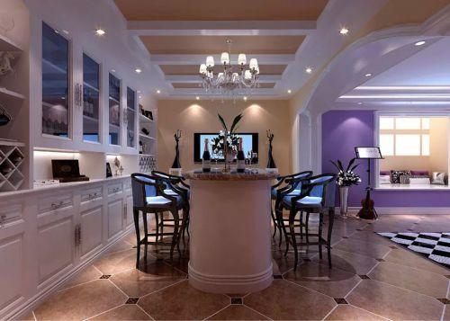 现代简约风格紫色餐厅装修效果图