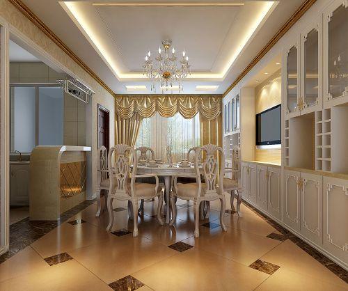 现代奢华欧式风格餐厅餐桌装修设计效果图