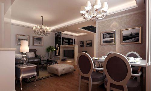 三居室现代简约风格瑰丽餐厅吊灯效果图