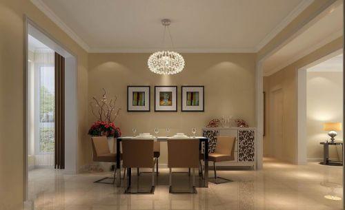 现代简约四居室餐厅背景墙装修效果图