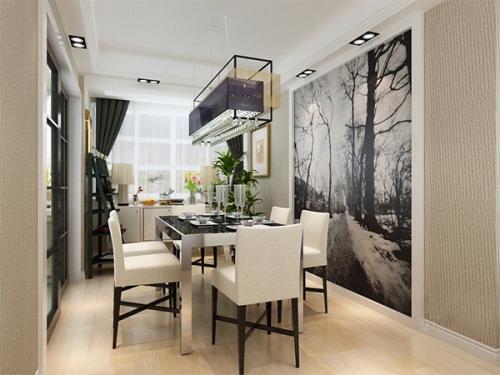 现代简约三居室餐厅背景墙装修效果图