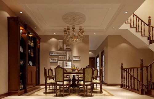 现代简约别墅餐厅照片墙装修效果图欣赏