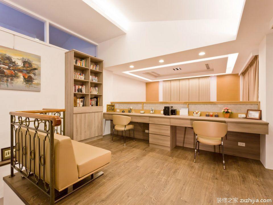 原木色现代简约风格书房装修设计
