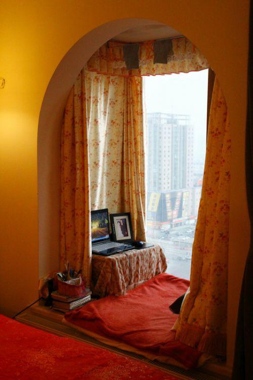 现代简约一居室阳台窗帘装修效果图大全