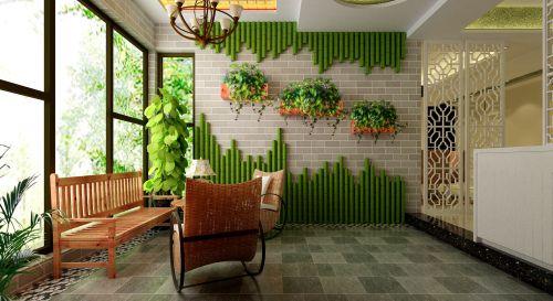 现代舒适三居室阳台装修效果图