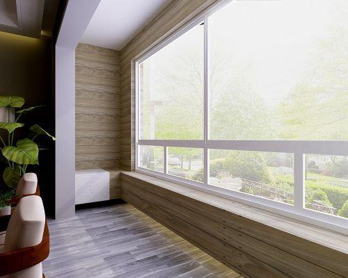 现代简约二居室阳台窗帘装修效果图