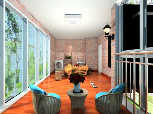 现代简约二居室阳台壁纸装修效果图欣赏