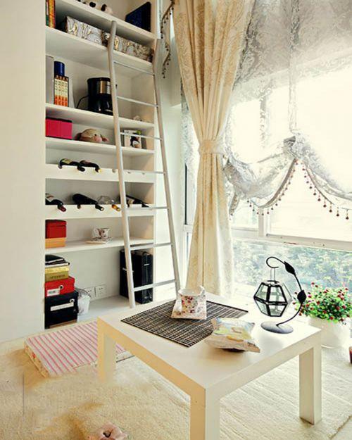 现代简约复式阳台窗帘装修效果图