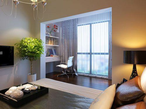 现代简约二居室阳台壁纸装修效果图