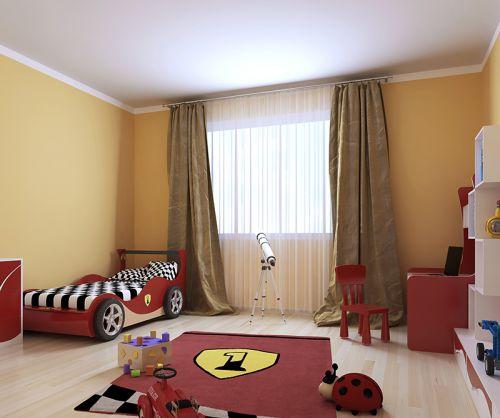 咖啡色简约纯色儿童房窗帘效果图