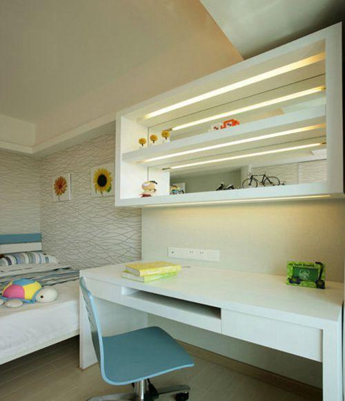 现代简约三居室儿童房床装修图片