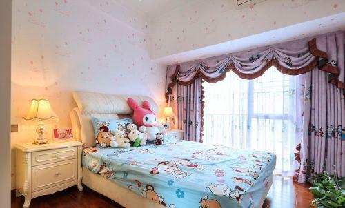 现代简约三居儿童房趣味印花窗帘效果图