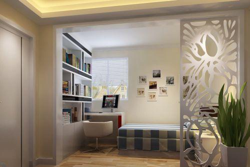 现代简约三居室儿童房书柜装修效果图