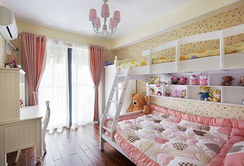 清新现代双人床儿童卧室装修效果图