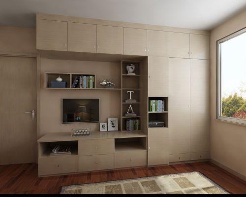 现代简约风卧室多功能衣柜装修设计图