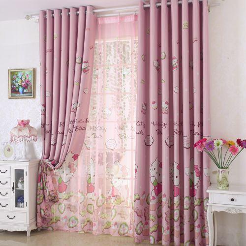 粉色kitty现代简约儿童房可爱窗帘效果图