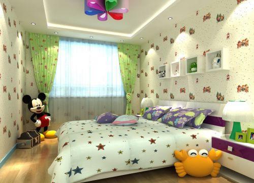 三居室现代风清爽儿童房装修效果图