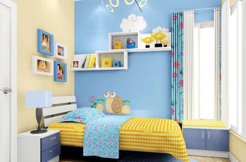 现代简约儿童房黄色床装修设计图