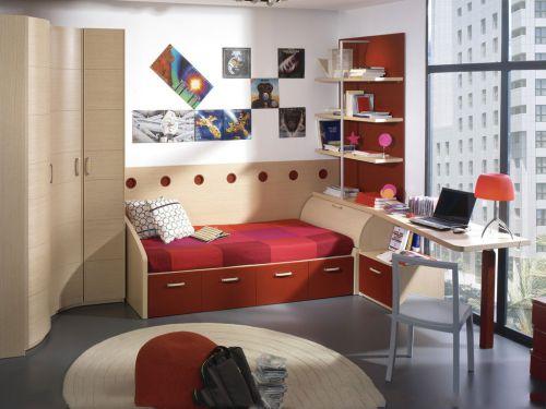现代简约风格三室儿童房红色床效果图