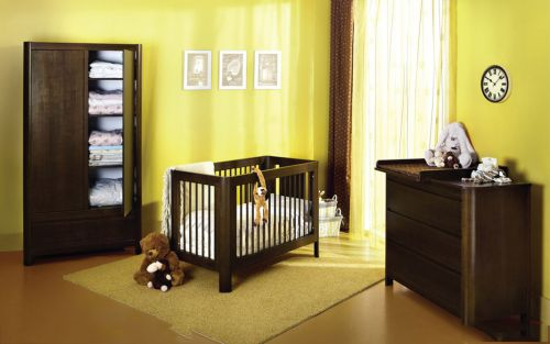 四室现代简约儿童房咖啡色婴儿床效果图