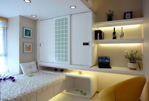 现代简约二居室儿童房储物柜梳妆台装修效果图