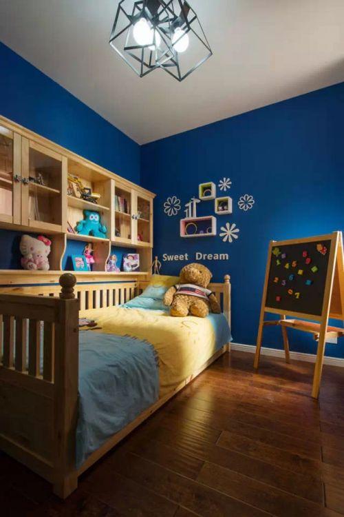 沉稳典雅现代简约风格儿童房背景墙实景图