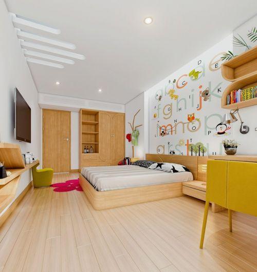 原木色简单可爱现代风格儿童房装修设计