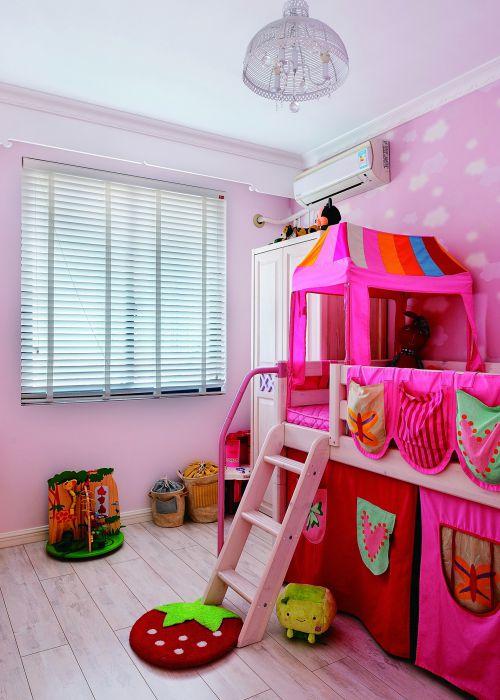 现代简约风儿童房可爱双人床效果图