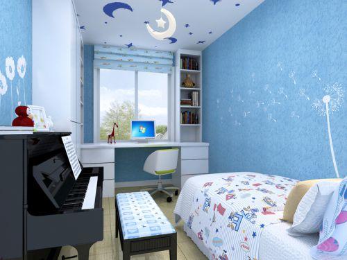 现代简约二居室儿童房组合柜装修图片