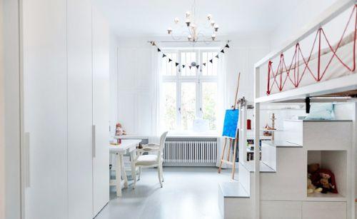 现代简约二居室儿童房书柜装修效果图