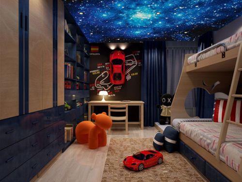现代简约三居室儿童房灯具装修图片