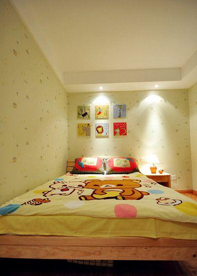 现代简约三居室儿童房壁纸装修效果图大全