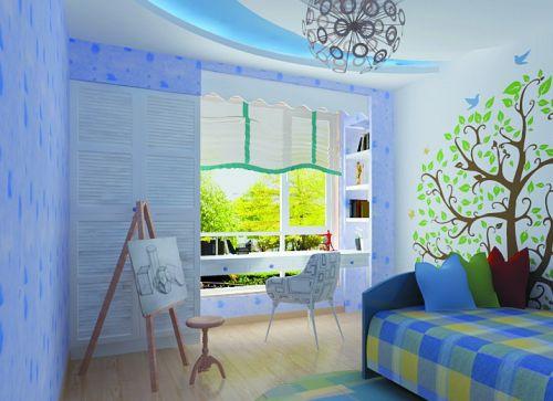 现代简约三居室儿童房组合柜装修图片